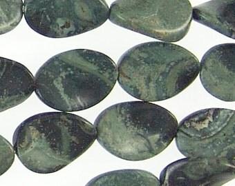 Kambaba Jasper Gemstone Beads 14mm Twisted Oval 71769