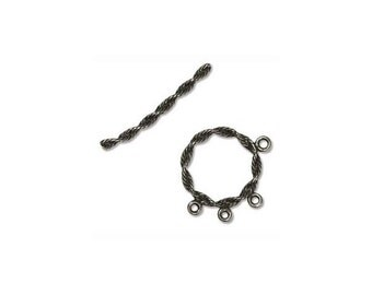 Spiral Toggle Clasp Silver Plated Brass 41832 (1) Has 3 Dangle or Charm Loops