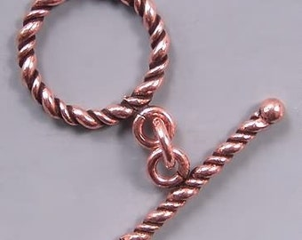 Copper Twist Toggle Clasps 42702 (10) 16mm Round Toggle Clasp, Copper Toggle Clasps