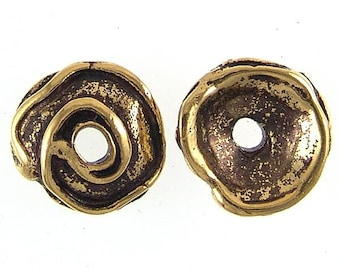 19mm Greek Swirl Bead Caps 3.3mm Hole 33257 (2), Gold Plated Bead Caps, Large Bead Caps, Swirl Bead Cap, Textured Bead Cap, Jewelry Findings