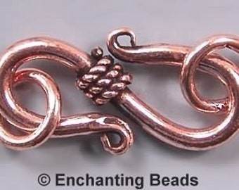 Copper Coiled S-Clasps with Jumprings 42706 (10)