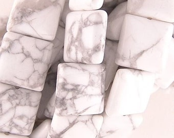 Howlite 14mm Flat Square Beads 71364 , White Beads, Gray Beads, Large Square Beads, Large Flat Beads, Howlite Gemstone Beads
