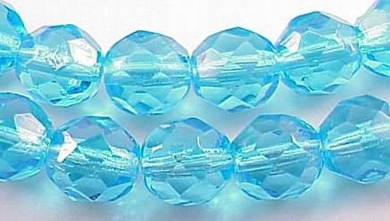 Czech Firepolish Beads 8mm Aquamarine 17068 Aqua Blue Round Beads, Faceted Beads, Fire Polish Beads, Jablonex Glass Bead, 8mm Czech Bead