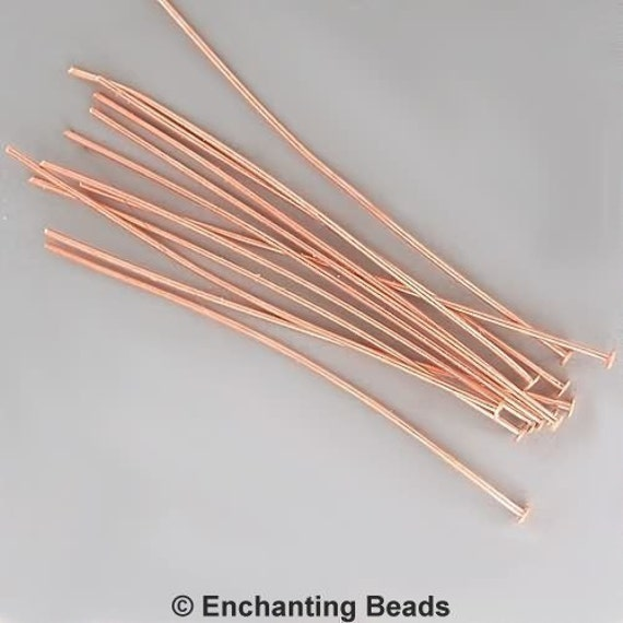 3 inch 21ga Copper-Plated Headpins 42951 (144), 21 gauge Copper Head Pins, Jewelry Findings, Head Pin Wire, Thick Head Pins, Long Head Pins