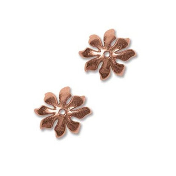 Flower Bead Caps 10mm Real Copper 41555 (6)