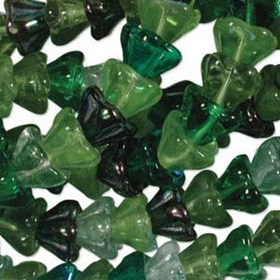 Czech Flower Beads Glass 8mm Evergreen Mix 17911