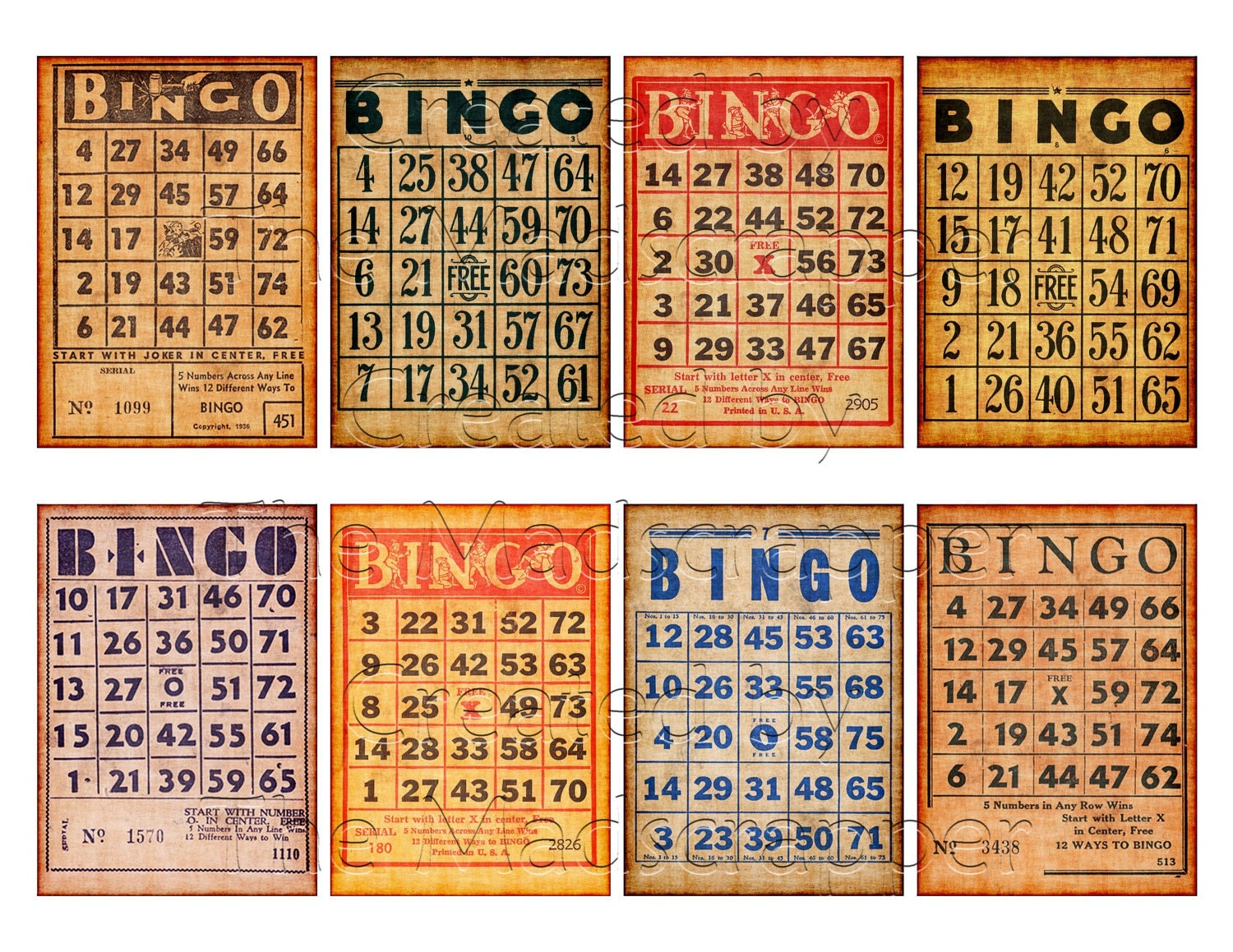 Digital Collage Sheet Vintage Bingo Cards Atc Aceo By