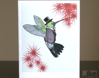 Dapper Hummingbird Blank Mini Art, Spring Greeting Card - Size A2