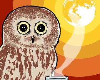 Coffee Owl, Bird 5x7 Giclee Illustration Print, Moon, Rainbow - Gifts for Coffee Lovers