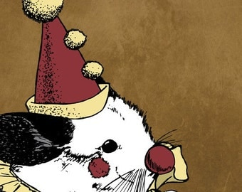 Opera Clown Chinchilla 5x5 Giclee Illustration Print - Paolo the Clownchilla