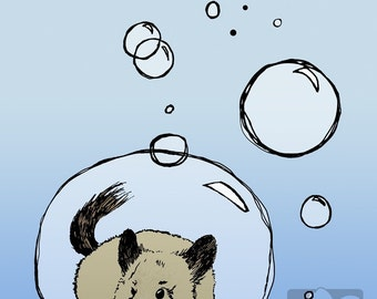 Cute Beige Chinchilla in a Bubble 5x7 Giclee Illustration Print, Velvet Matte Finish