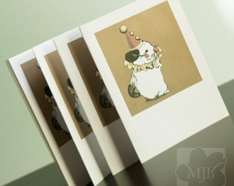 Clown Chinchilla, Opera, Mini Art, Greeting Cards A2 Blank Set of FOUR