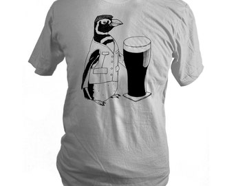 Custom Order - Light Grey Beer Penguin Screen Printed T-Shirt