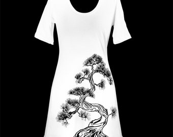 White Japanese Pine Tree Screen Printed T-Shirt Dress, Sumi-e - Gifts for Her