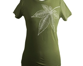 Olive Green Japanese Maple Leaf Screen Printed T-Shirt, Women, Momiji - Size L SALE - Last One