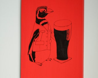 SALE Beer Penguin 12x16 Red Canvas Wrap Print, Ireland, Guinness, For Beer Lovers