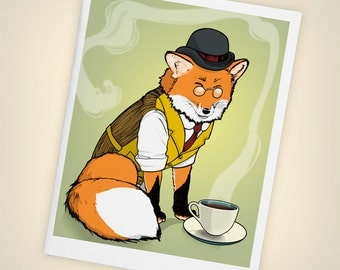 Fancy Red Fox, Tea Time Blank Greeting Card - Size A2