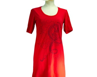 Red Japanese Dragon, Ryuu, Clouds, Stars T-Shirt Dress, Crewneck, Women - Gifts For Her - Last One
