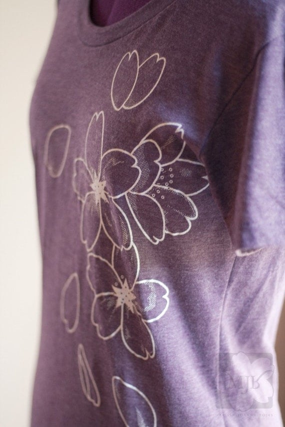 Plum Purple Japanese Sakura Screen Printed Poly Cotton T-Shirt - Size M Last One