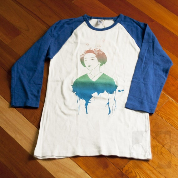 Blue, White Maiko Screen Printed Raglan Shirt - Limited Stock, Gradient, Women - Gifts for Her