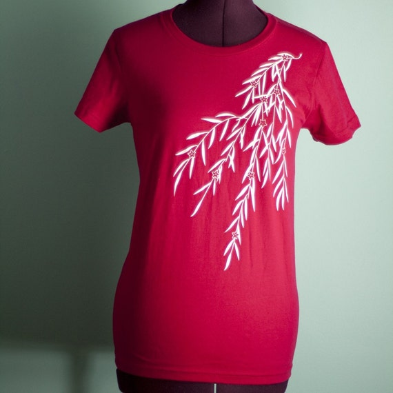 Sangria Japanese Willow Screen Printed T-Shirt - Size M OOPS