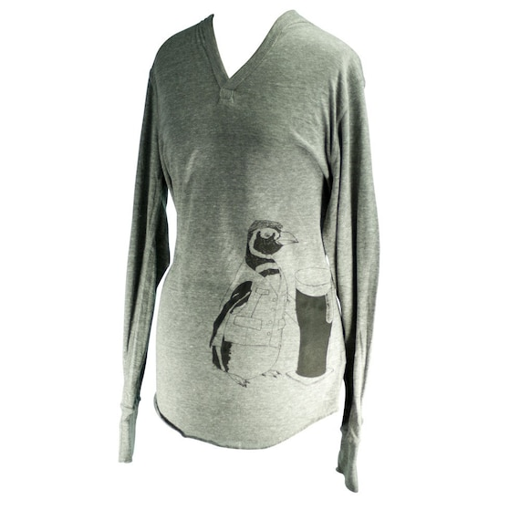 I'll Have a Pint - Grey Screen Printed Unisex Penguin Eco Hoodie - Size L