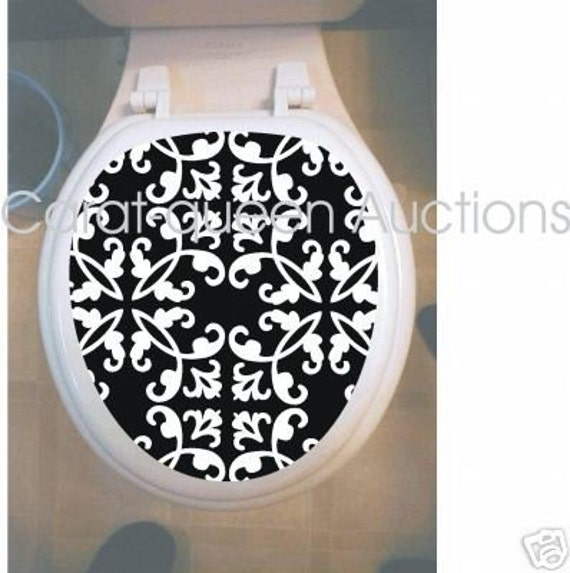 Damask Black And White Toilet Seat Tattoo Decal Skin