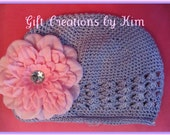 Boutique firls knit Purple hat with pretty pink rhinestone center Bling flower great for Easter etc.