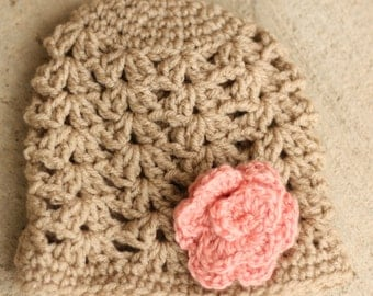 Baby crochet hat, Tan and pink , size 0 to 3 months