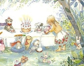 A Teddy Bear Tea Party with Friends 8 X 10, Print for Girls Room, Girls Room Art