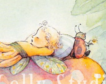 Sleeping Fairy on a Mushroom    2 notecards