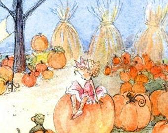 2 Tiny Pumpkin Fairy Princess Postcards, Halloween Treat. Party Favor, gift card