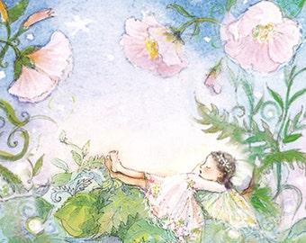 art for girls room, decor, small print, art, Fairy sleeping in a Periwinkle Garden  -  Dark hair fairy  8 X 8 format