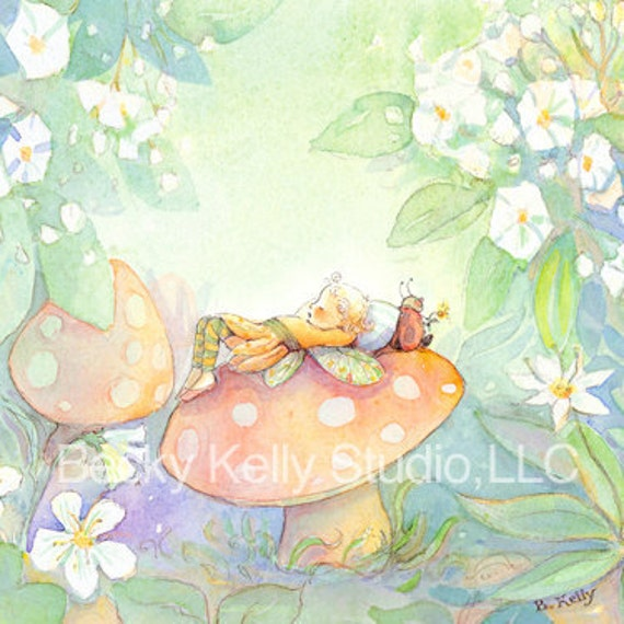 Fairy Resting on a Mushroom print - choose your favorite size