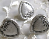 40 Vintage METAL Heart Shaped Realistic Buttons Mixed Media Jewelry Supplies Altered Art Supplies Quilting Embellishments