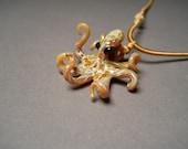 Steampunk Glass Octopus Pendant Necklace