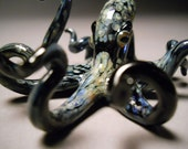 Black Spotted Glass Octopus Sculpture with Realistic Eyes