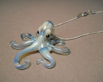 Blown-glass Pearl Blue Octopus Pendant Necklace on a Silver Chain