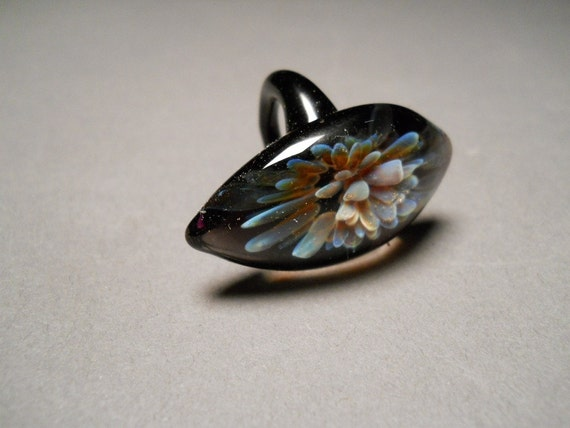 Hand made blown Glass Ring with implosion flower using glassblowing lampwork techniques