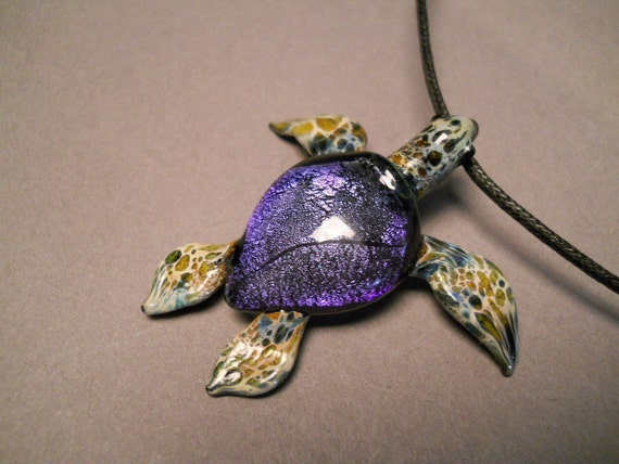 Glass Jewelry Sea Turtle Pendant for Guys or Gals