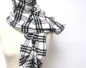 SALE -Black & White Tuck Scarf