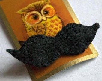 Black Moustache Felt Brooch
