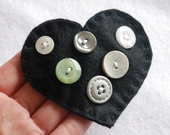 Black Button heart felt snap hair clip