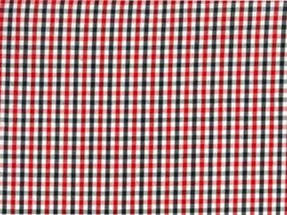 """Fabric Finders Tri color plaid Red White Black 60"""" wide  1yd 22"""" only"""