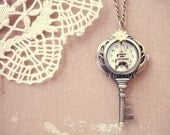 time will find the way - brass key clock necklace.