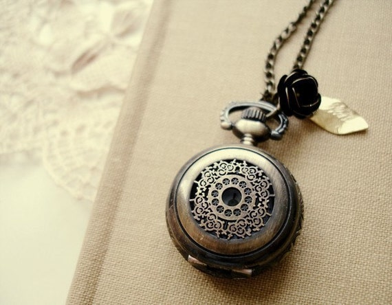 time will come - brass filigree pocket watch necklace.