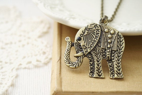 world of dreams - antique brass elephant necklace.