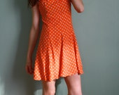 1980s Orange Polka Dot Dress