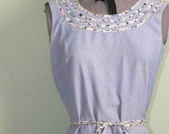 Chambray 1970's Wrap Dress - Floral Trim