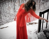 vintage red formal dress w\/ matching sheer cape